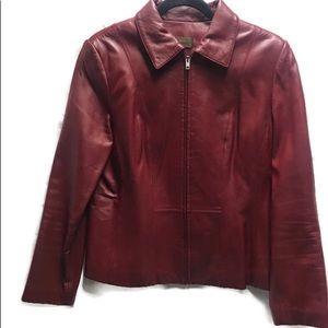 DANIER Jacket Coat Red Leather Zip Up